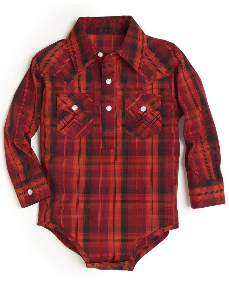 Wrangler Infant Boys' Red Plaid Long Sleeve Bodyshirt , , hi-res