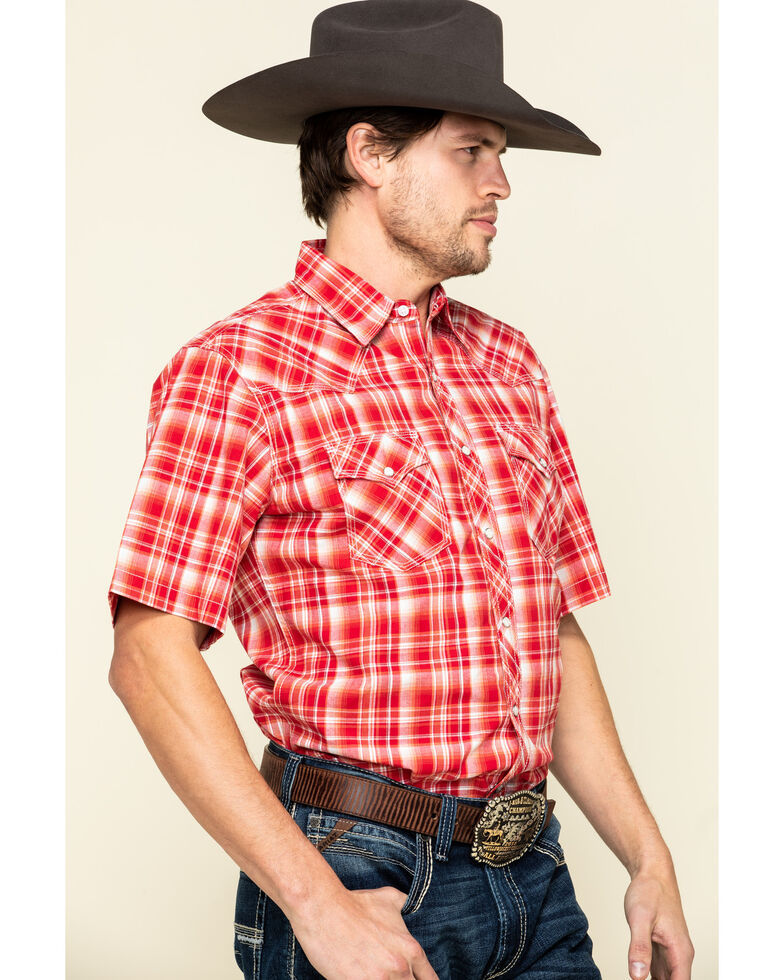 Wrangler 20X Men's Advanced Comfort Red Plaid Short Sleeve Western Shirt , Red, hi-res