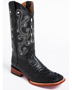 Ferrini Men's Black Caiman Croc Print Cowboy Boots - Wide Square Toe, Black, hi-res