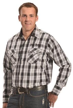 Jack Daniels Men's Black Plaid Western Snap Shirt , Black, hi-res