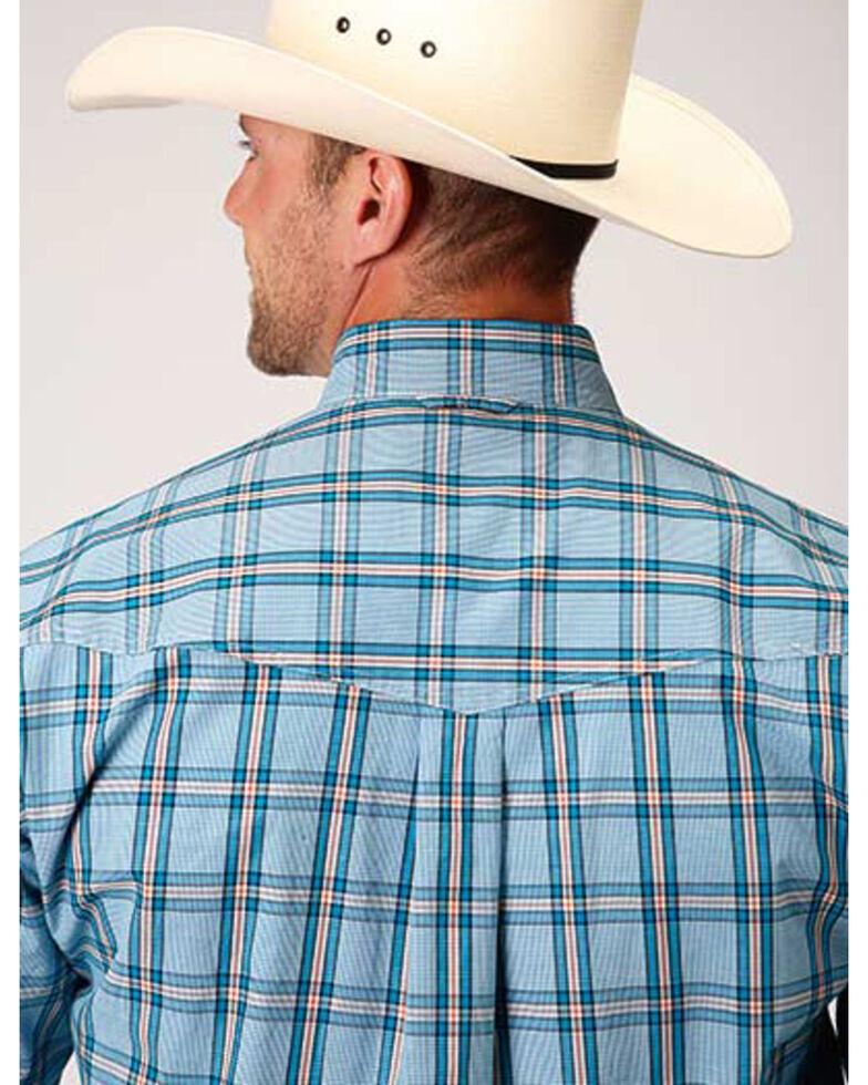 Amarillo Men's Oasis Cold Creek Plaid Long Sleeve Western Shirt , Blue, hi-res