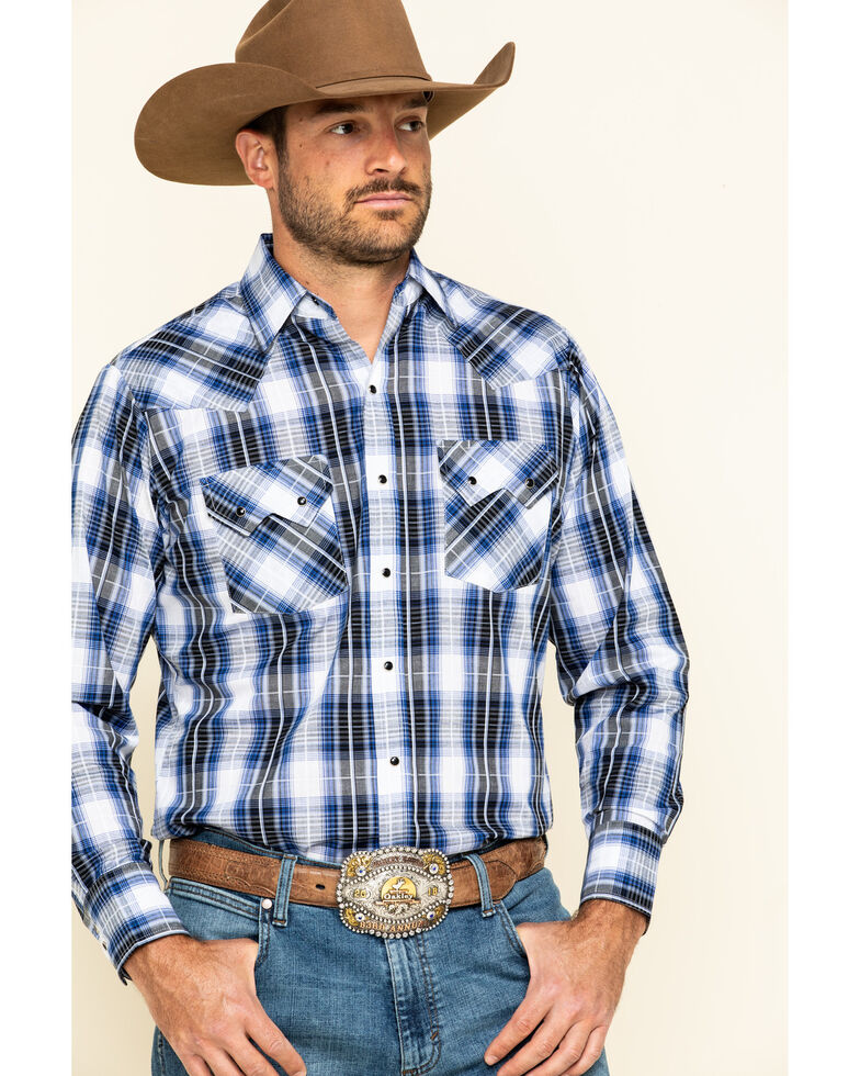 Ely Walker Men's Black / Blue Med Plaid Long Sleeve Western Shirt - Tall , Blue, hi-res
