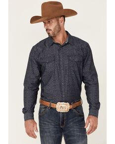 Cody James Men's Washed Out Chambray Aztec Print Long Sleeve Snap Western Shirt - Big & Tall , Navy, hi-res