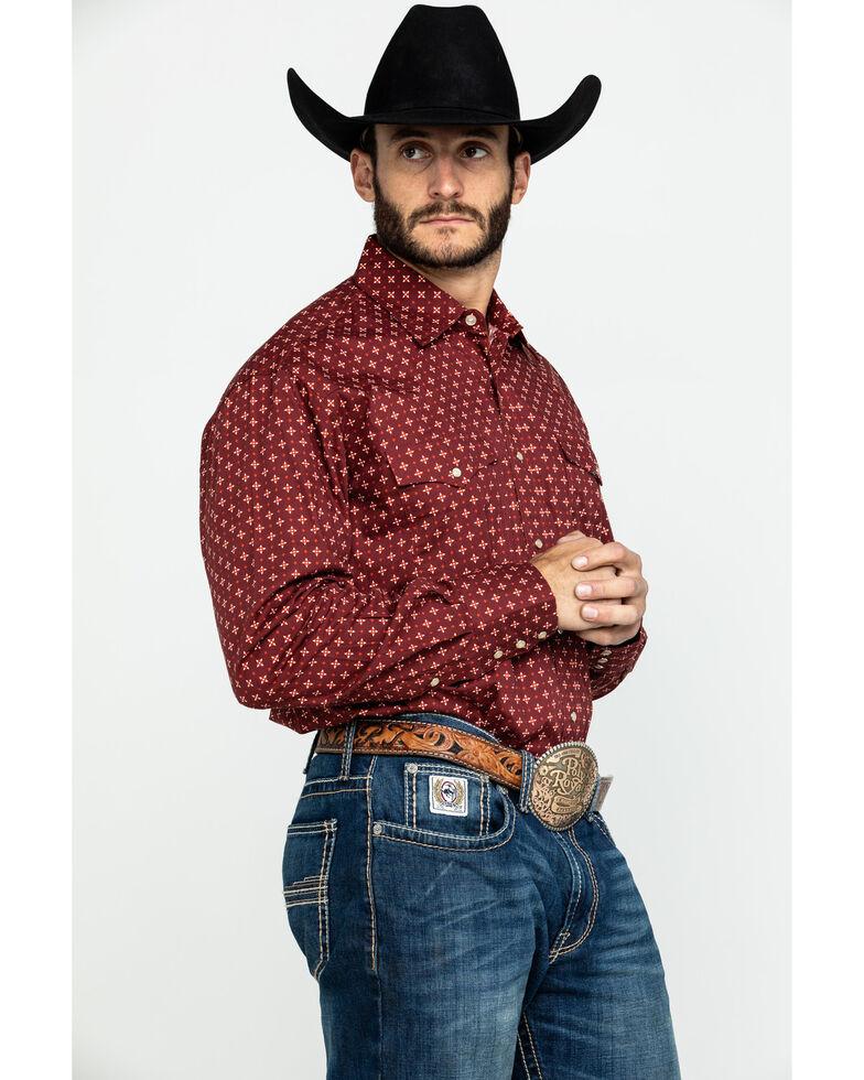 Roper Men's Amarillo Voyager Foulard Geo Print Snap Long Sleeve Western Shirt , Red, hi-res