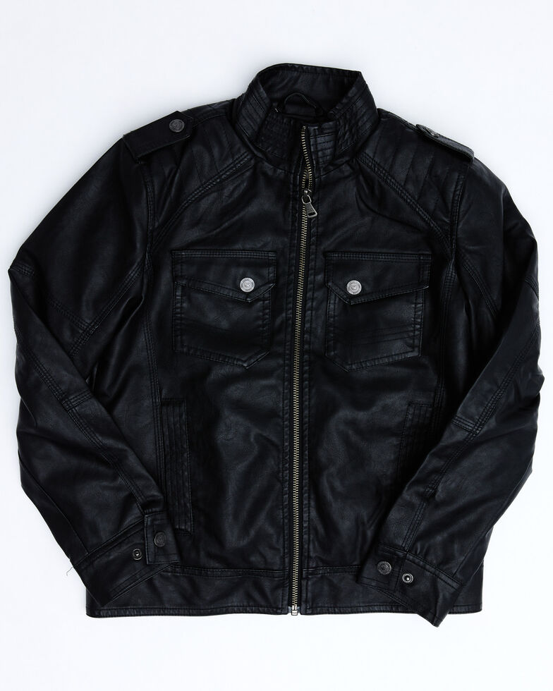 Cody James Boys' Black Backwoods Distressed Faux Leather Moto Jacket , Black, hi-res