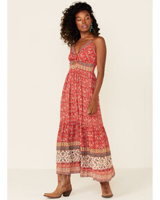 Angie Women's Red Floral Knot Front Peekaboo Maxi Dress, Red, hi-res