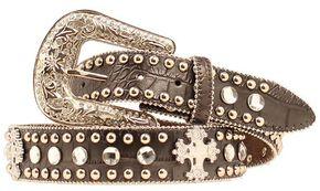 Blazin Roxx Faux Leather Croc Print Studded Cross Belt, Black, hi-res