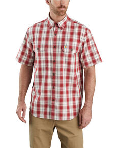 Carhartt Men's Dark Red Plaid Original Fit Midweight Short Sleeve Work Shirt - Big , Dark Red, hi-res