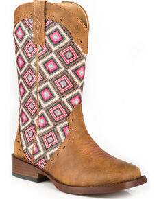 Roper Girls' Tan Glitter Geo Pattern Boots - Square Toe , Tan, hi-res