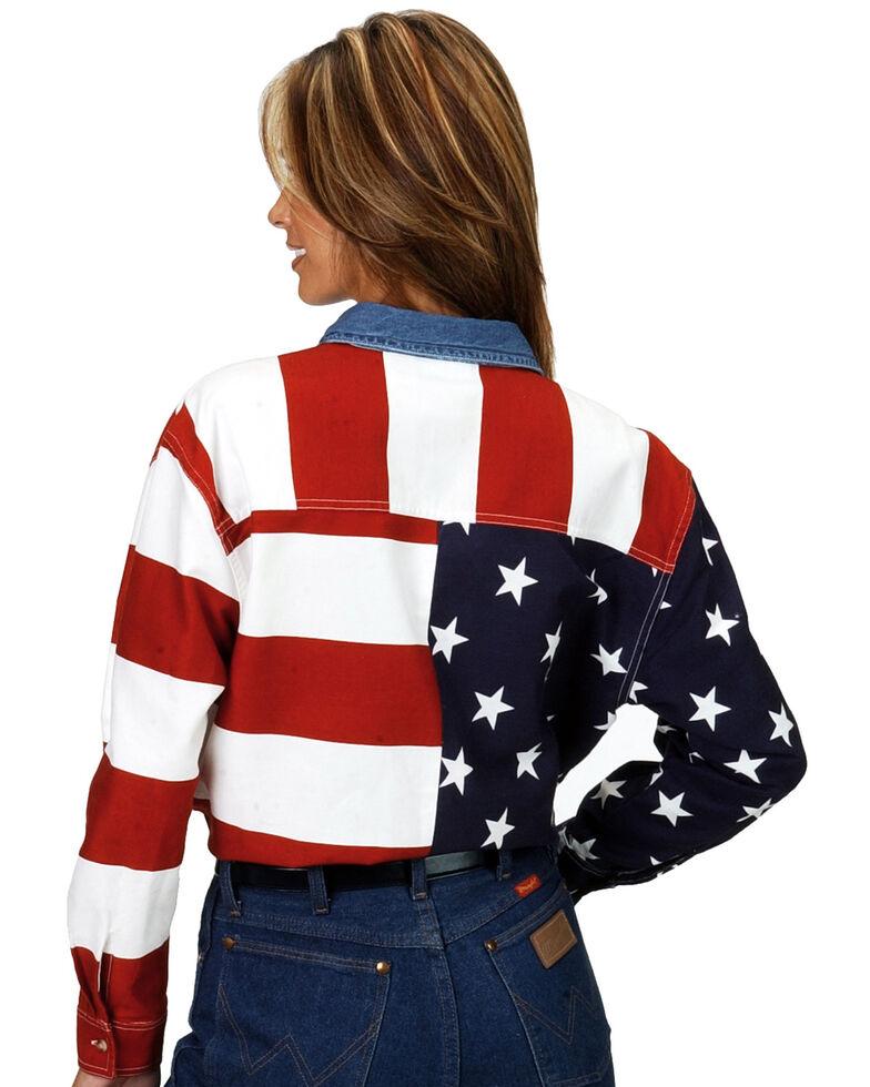 Roper Women's Long Sleeve American Flag Shirt - Plus, White, hi-res