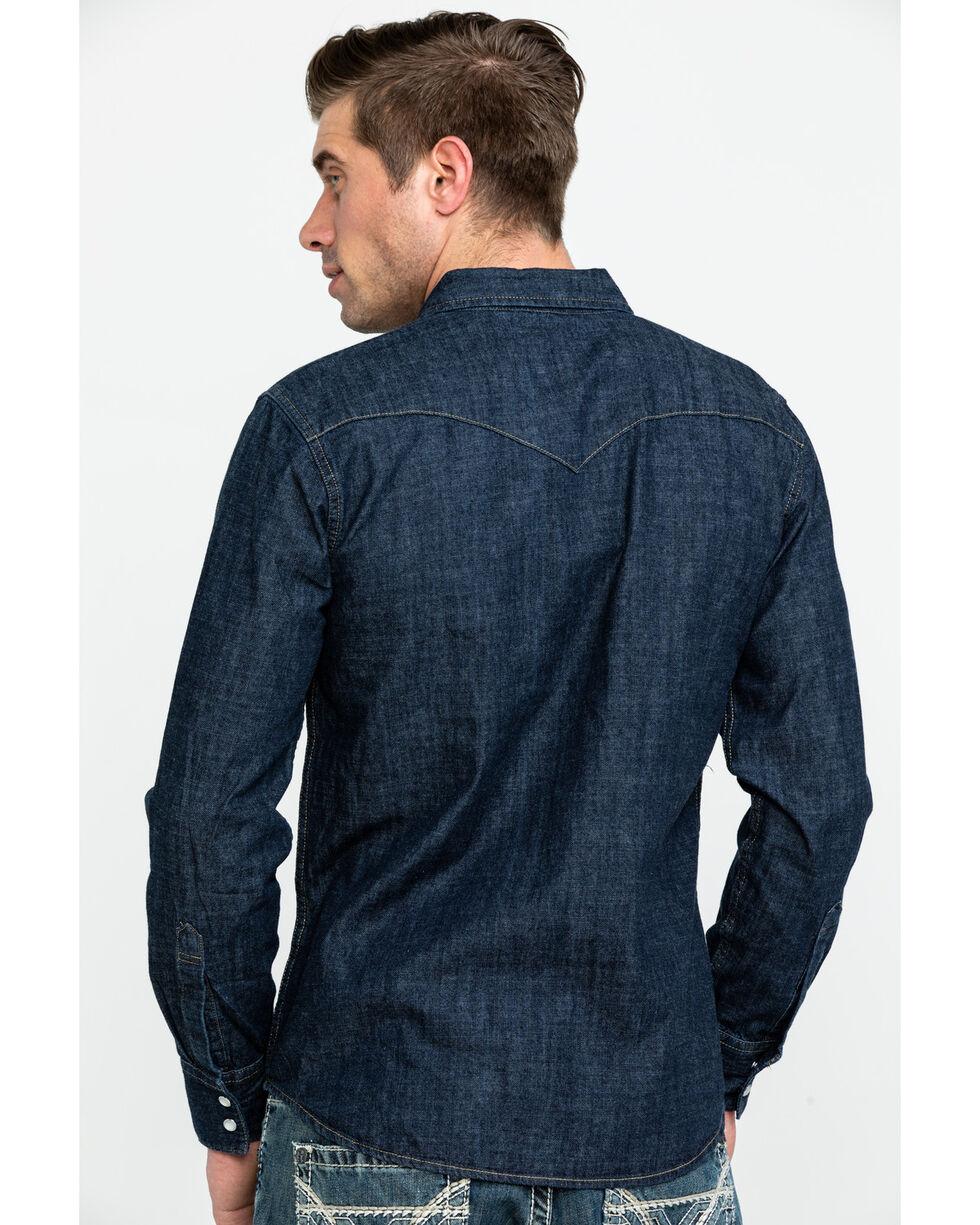 Levi's Men's Dark Rinse Denim Long Sleeve Western Shirt, Dark Blue, hi-res