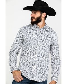 Rock & Roll Cowboy Men's Crinkle Washed Print Long Sleeve Western Shirt , White, hi-res