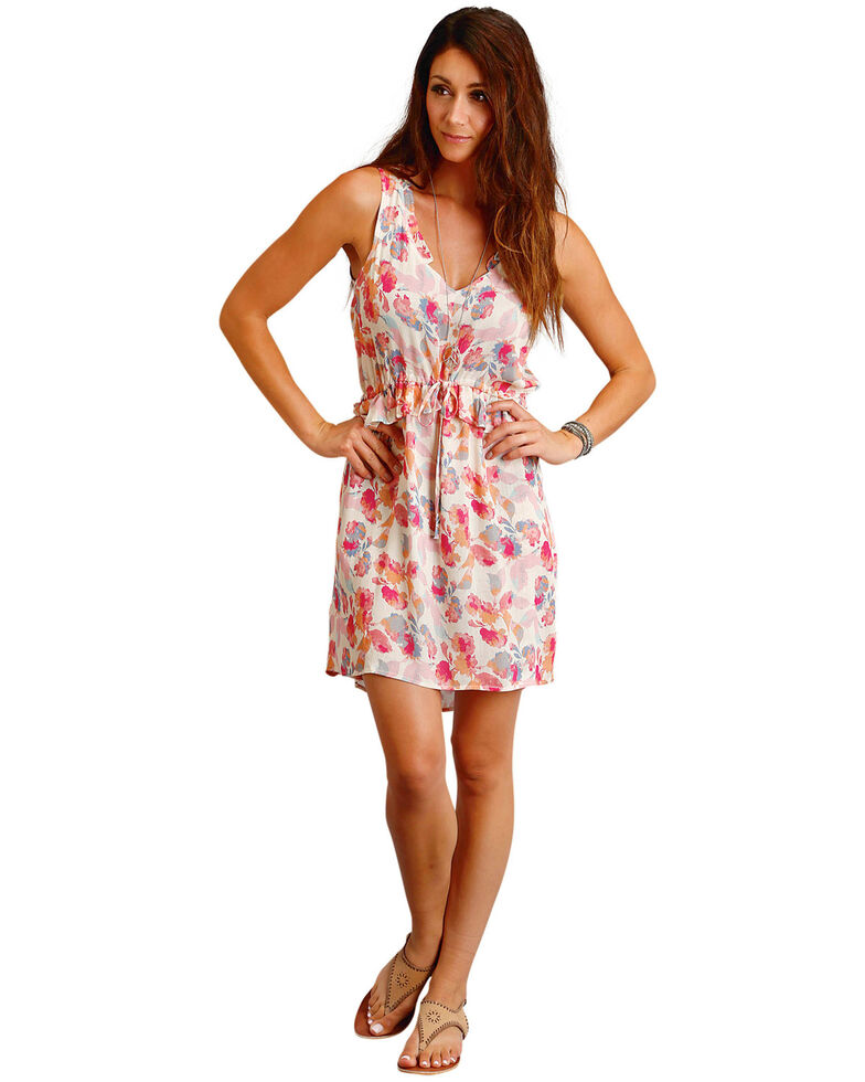 78d3d4f8 ... Country Floral Print Dress: Stetson Women's Pink Watercolor Floral  Print Dress