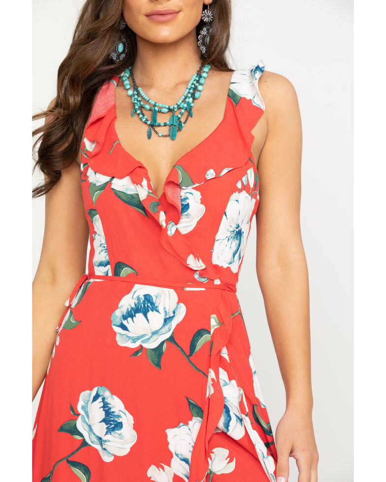 Miss Me Women's Red Floral Surplice Wrap Ruffle Dress, Red, hi-res