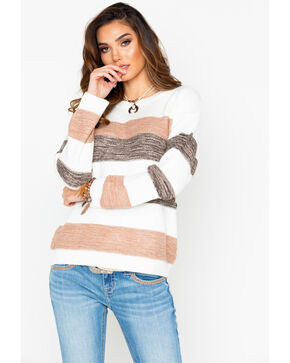 Rag Poets Women's Striped Pullover Sweater , Mauve, hi-res