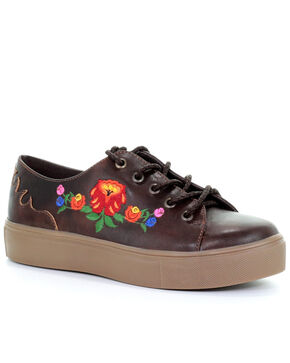 Corral Women's Tobacco Floral Embroidery Shoes, Brown, hi-res