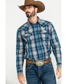 Cody James Men's Stallion Small Plaid Long Sleeve Western Shirt , Grey, hi-res