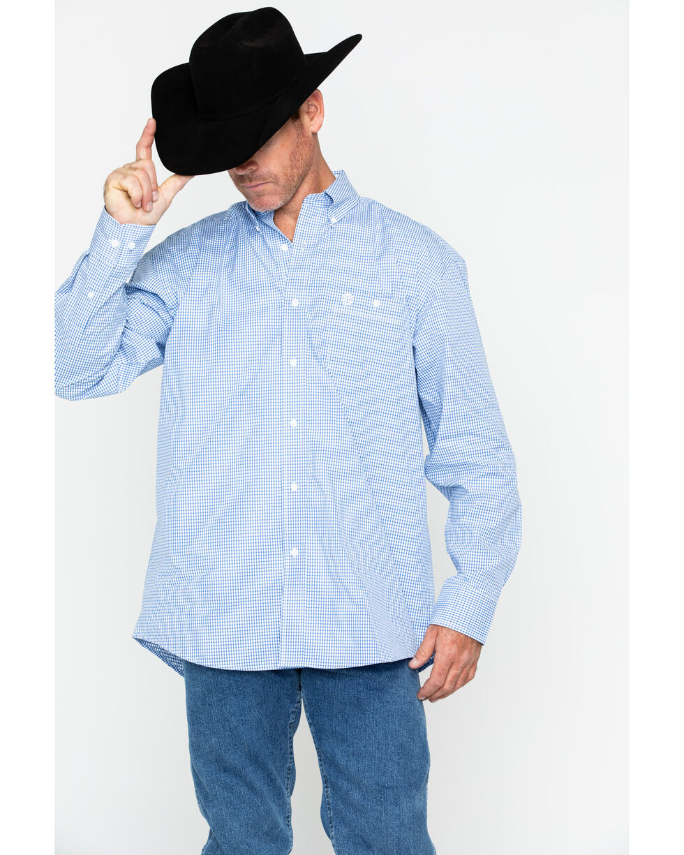 George Strait By Wrangler Men's Mini Check Plaid Long Sleeve Western Shirt , Blue/white, hi-res