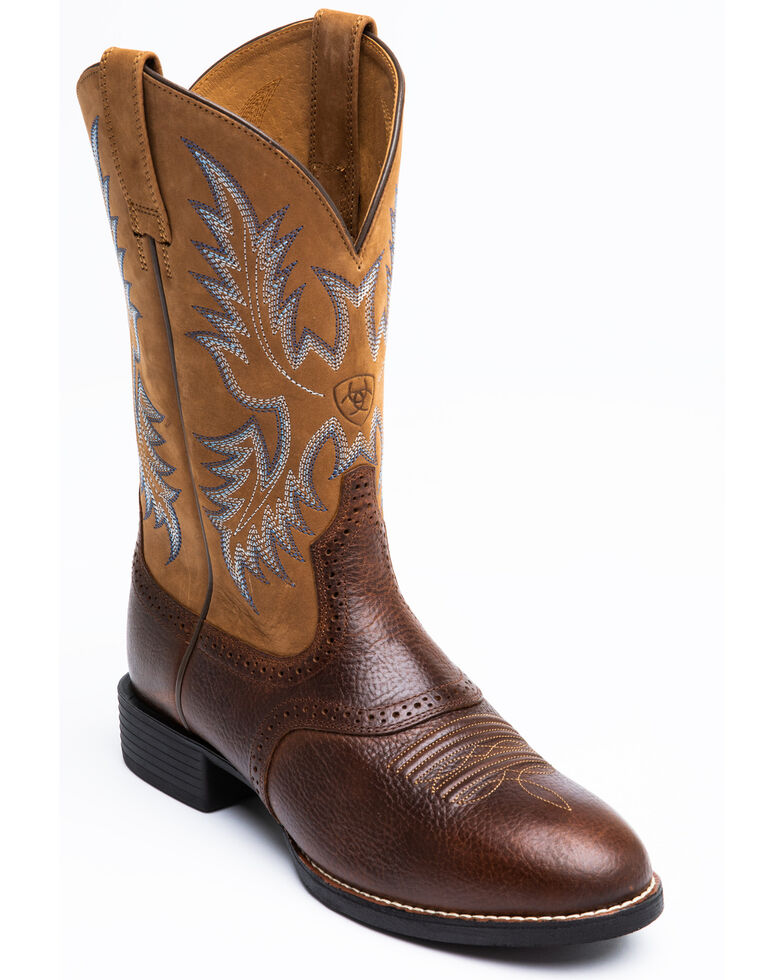 Ariat Barrel Brown Stockman Cowboy Boots - Round Toe, Barrel Brn, hi-res