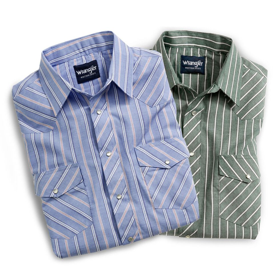 Wrangler Assorted Striped or Plaid Long Sleeve Classic Western Shirt - Big & Tall, Plaid, hi-res