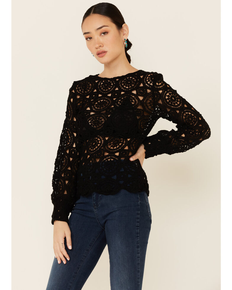 Saints & Hearts Women's All Over Lace Long Sleeve Top , Black, hi-res