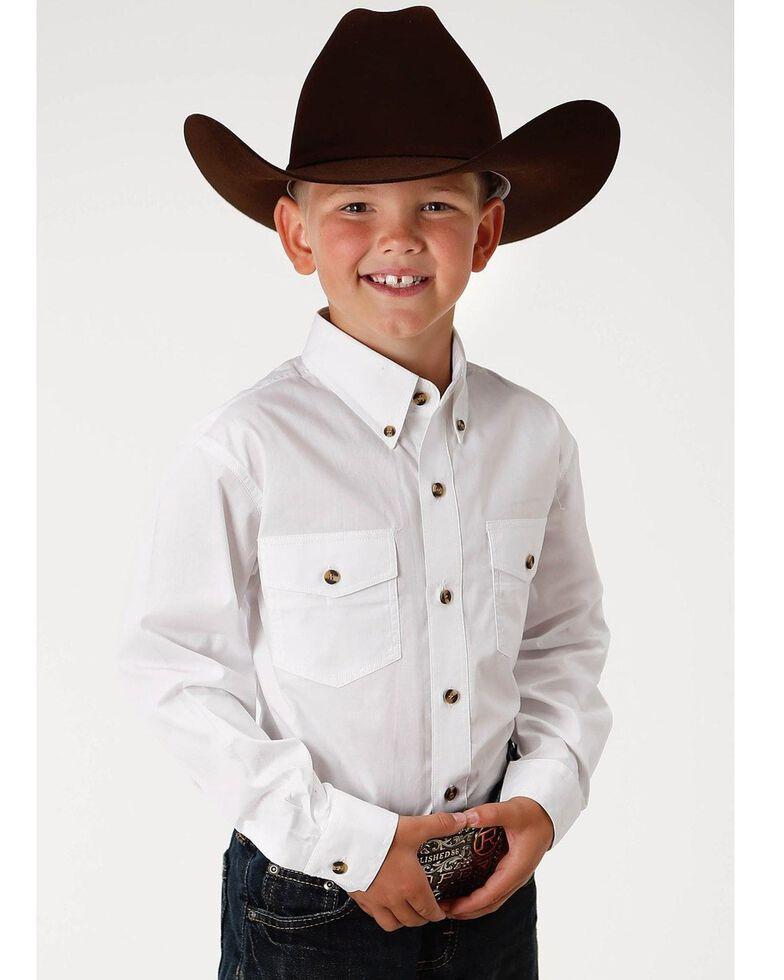 Roper Boy's Long Sleeve Poplin Western Shirt, White, hi-res