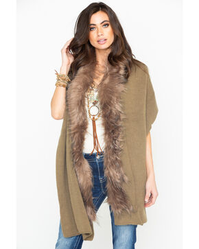 Shyanne Women's It's Fur Tonight Khaki Faux Fur Wrap, Beige/khaki, hi-res