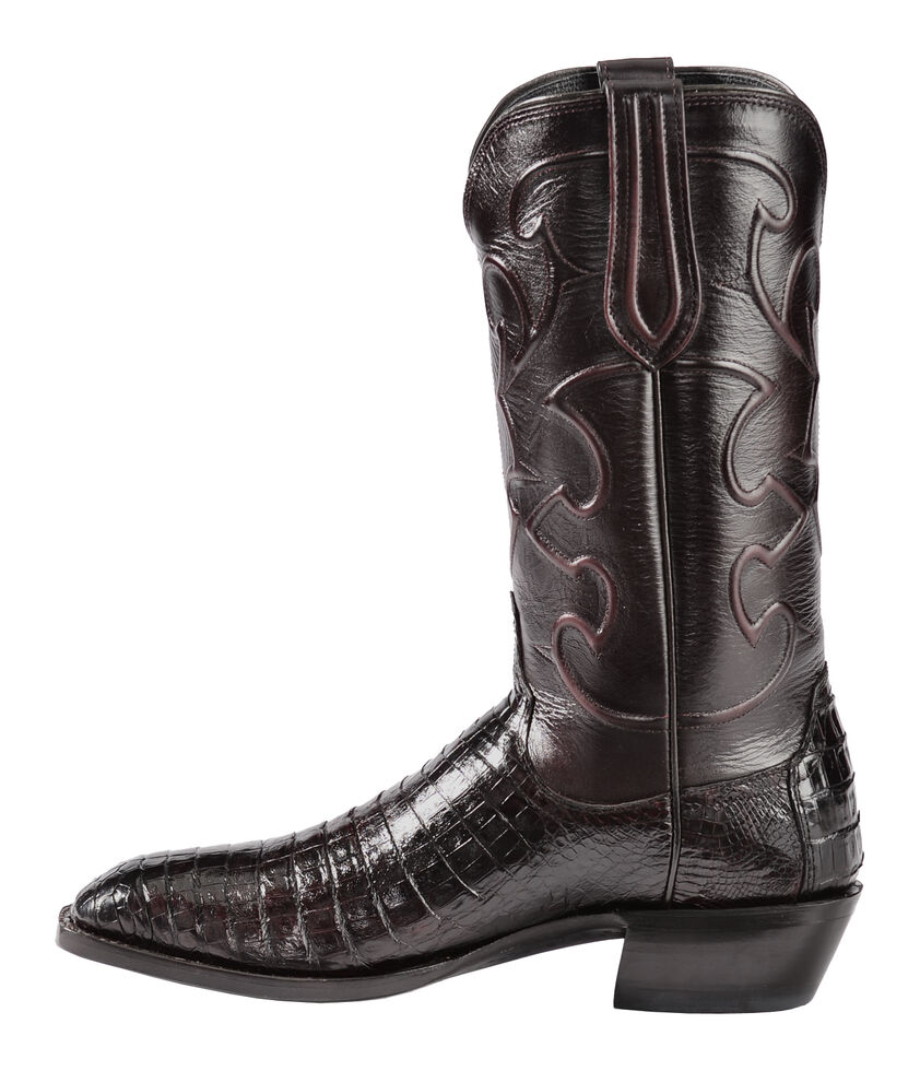 Lucchese Handmade 1883 Men's Charles Crocodile Belly Cowboy Boots - Snip Toe, Black Cherry, hi-res