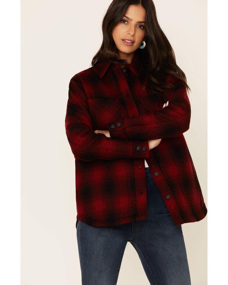 Pendleton Women's Red Plaid Wool Long Sleeve Western Flannel Shirt , Red, hi-res