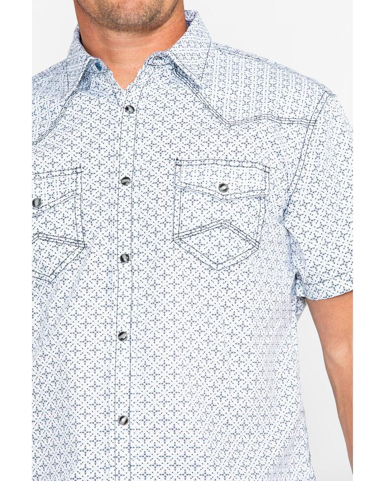 Moonshine Spirit Men's Floral Tapestry Geo Print Short Sleeve Western Shirt, White, hi-res