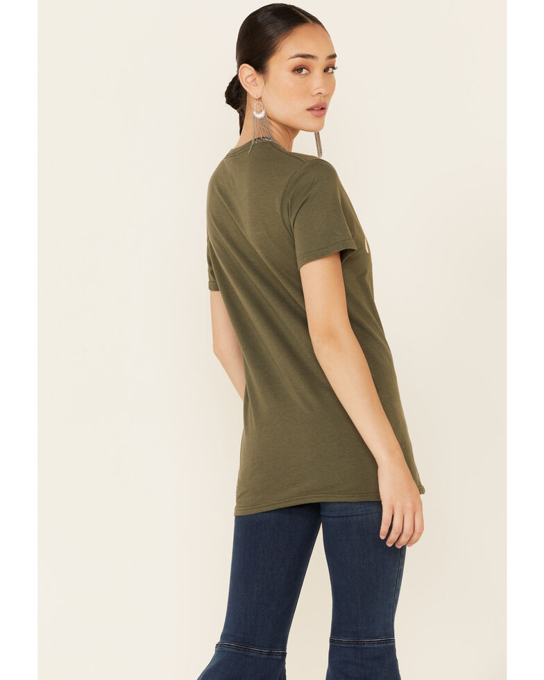 Grace & Truth Women's Life Is A Journey Graphic Short Sleeve Tee , Olive, hi-res