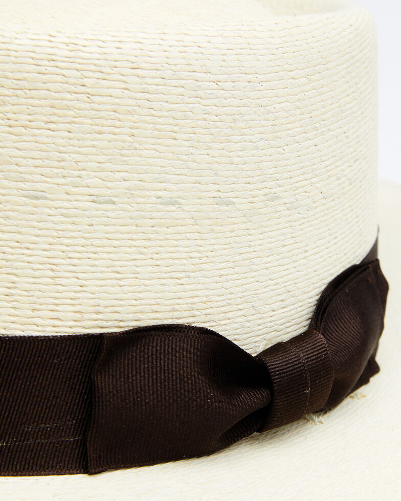 Atwood Hat Co. Chocolate Buckaroo Palm Leaf Boater Hat , Chocolate, hi-res