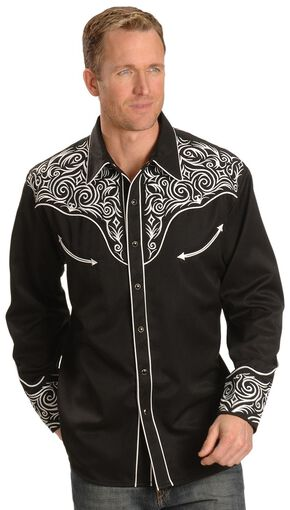 Scully Full Stitched Yoke Retro Western Shirt, Black, hi-res