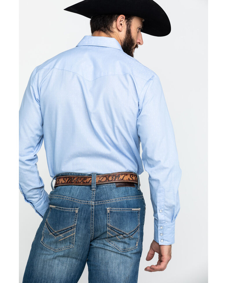 Roper Men's Classic Tone Blue Solid Long Sleeve Western Shirt , Blue, hi-res