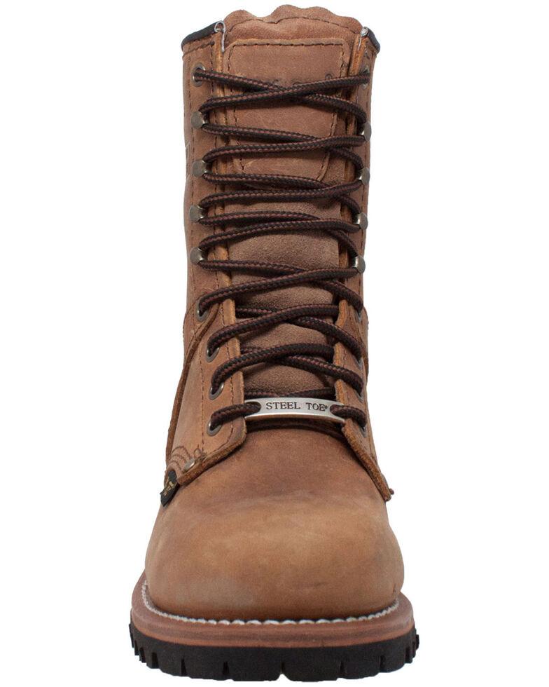 Ad Tec Women's Brown Logger Boots - Steel Toe, Brown, hi-res