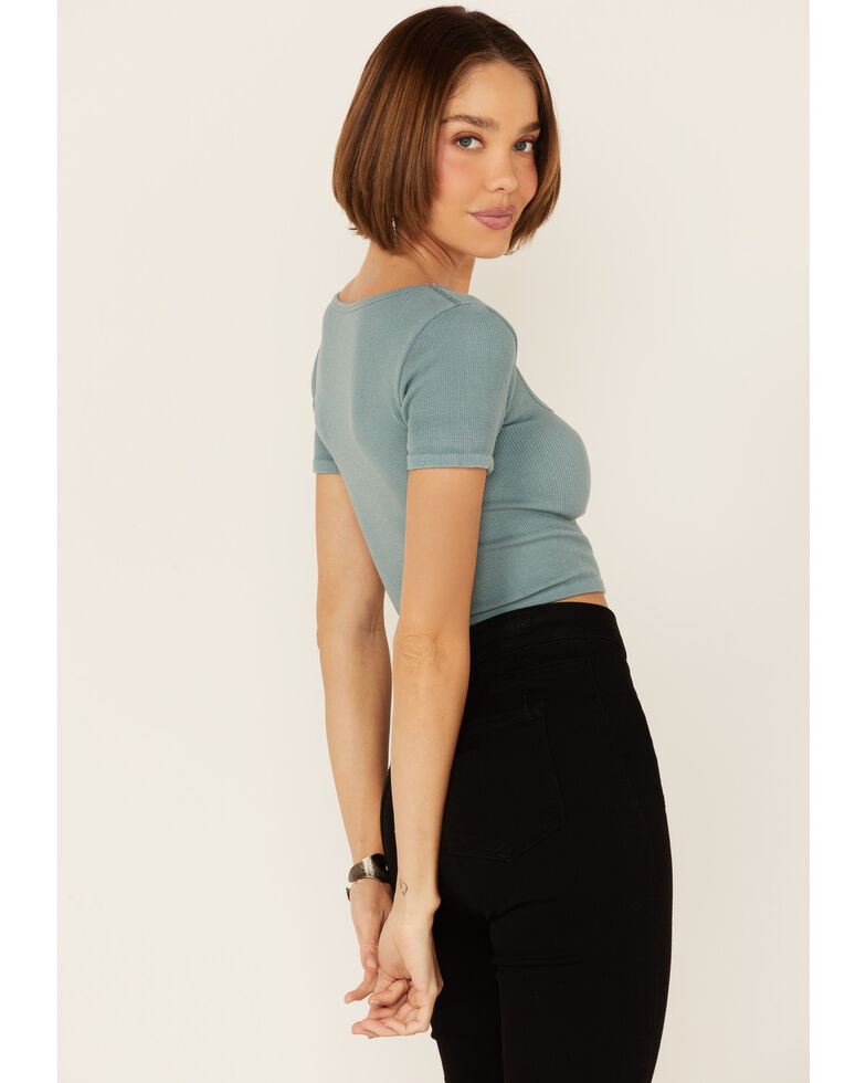 By Together Women's Blue Seamless Ribbed Short Sleeve Crop Top , Blue, hi-res