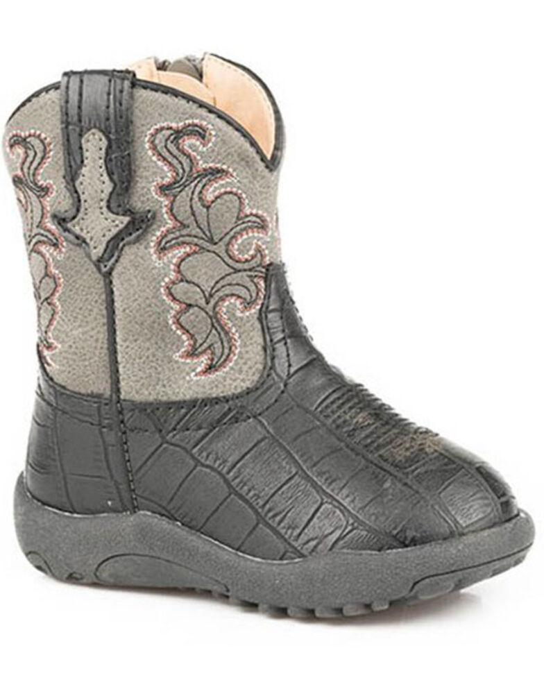 Roper Infant Boys' Cowbabies Gator Print Poppet Boots - Round Toe, Black, hi-res