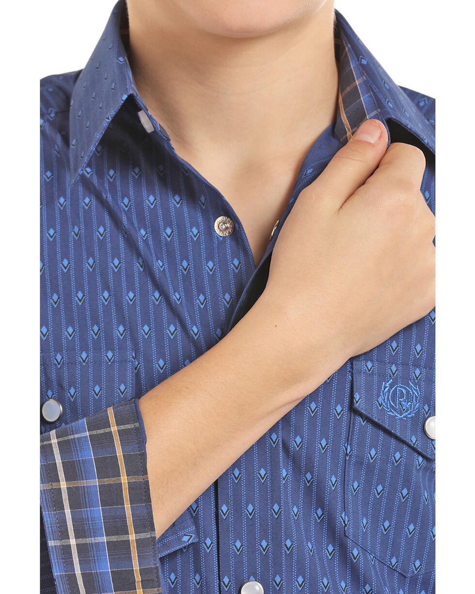 Panhandle Select Boys' Blue Brushed Geo Print Long Sleeve Western Shirt , Light Blue, hi-res