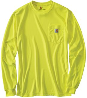 Carhartt Force Color-Enhanced Long Sleeve T-Shirt - Big & Tall, Lime, hi-res