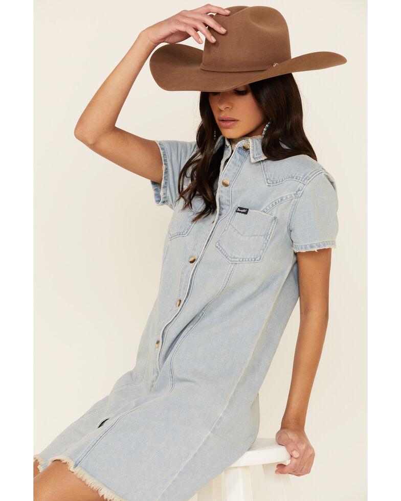 Wrangler Women's Denim Shirt Dress, Blue, hi-res