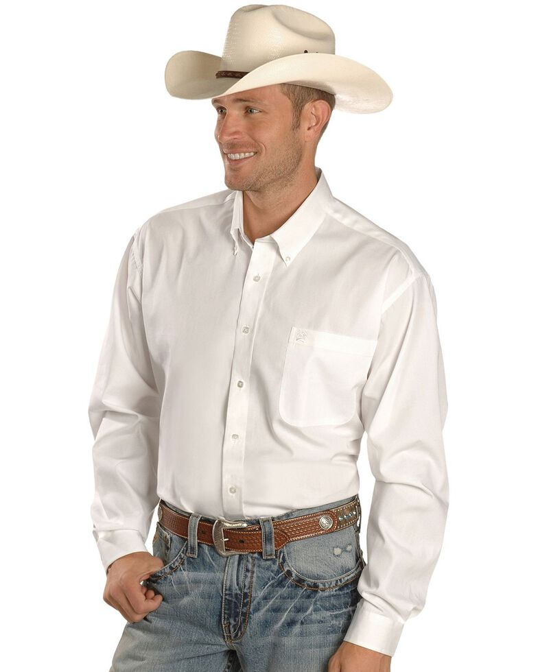 Cinch Men's Black Solid Button-Down Long Sleeve Western Shirt, White, hi-res
