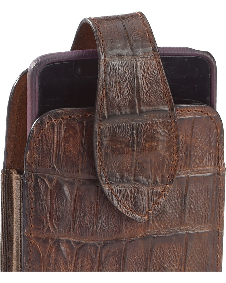 Cody James Extra Large Faux Caiman Cell Phone Holder, Chocolate, hi-res