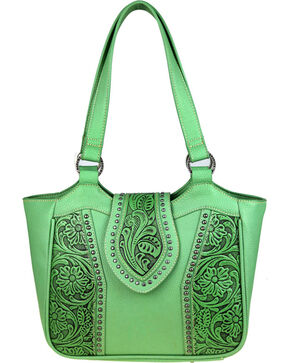 Montana West Trinity Ranch Genuine Floral Tooled Handbag , Light/pastel Green, hi-res