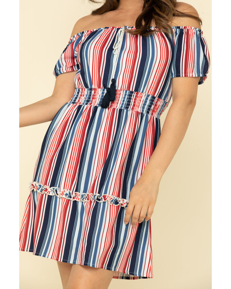 Rock & Roll Cowgirl Women's Stripe Off The Shoulder Dress, Red/white/blue, hi-res
