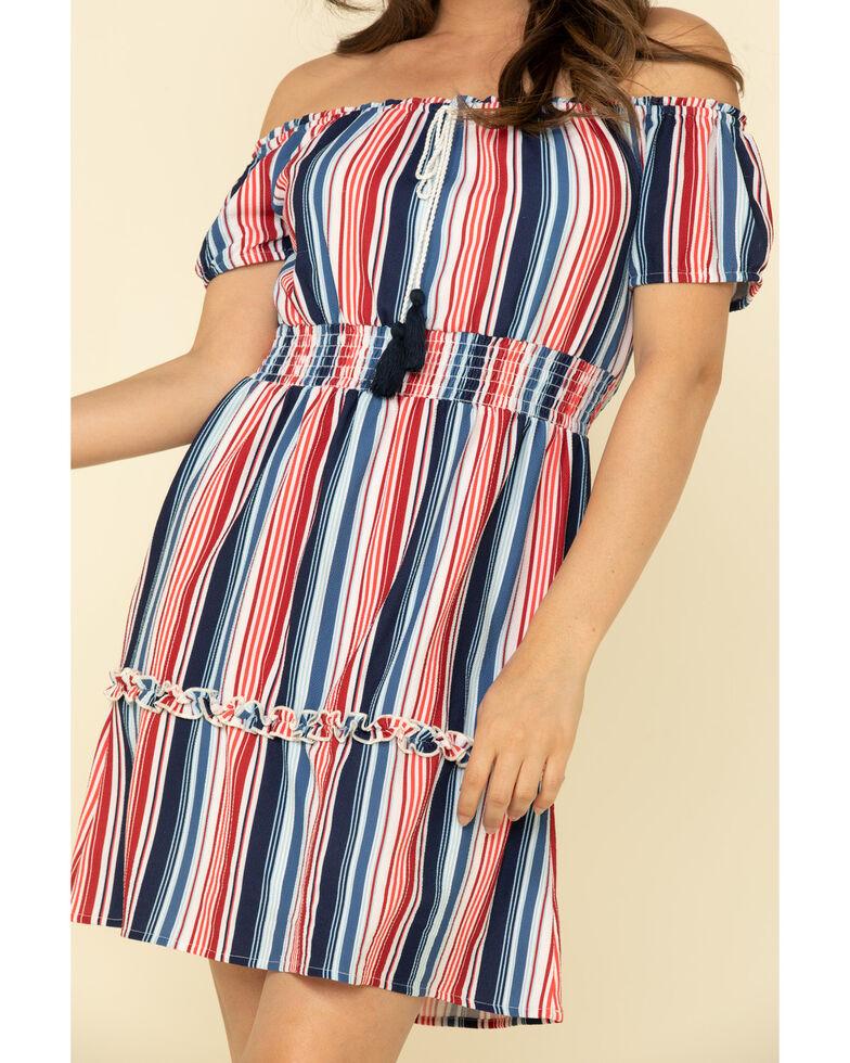 Rock & Roll Denim Women's Stripe Off The Shoulder Dress, Red/white/blue, hi-res