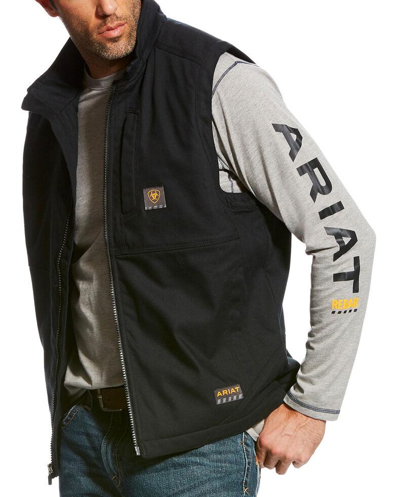 Ariat Men's Black Rebar DuraCanvas Work Vest, Black, hi-res