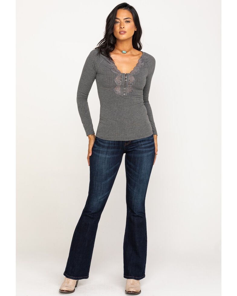 Idyllwind Women's Grey Cozytown Lace Henley, Heather Grey, hi-res