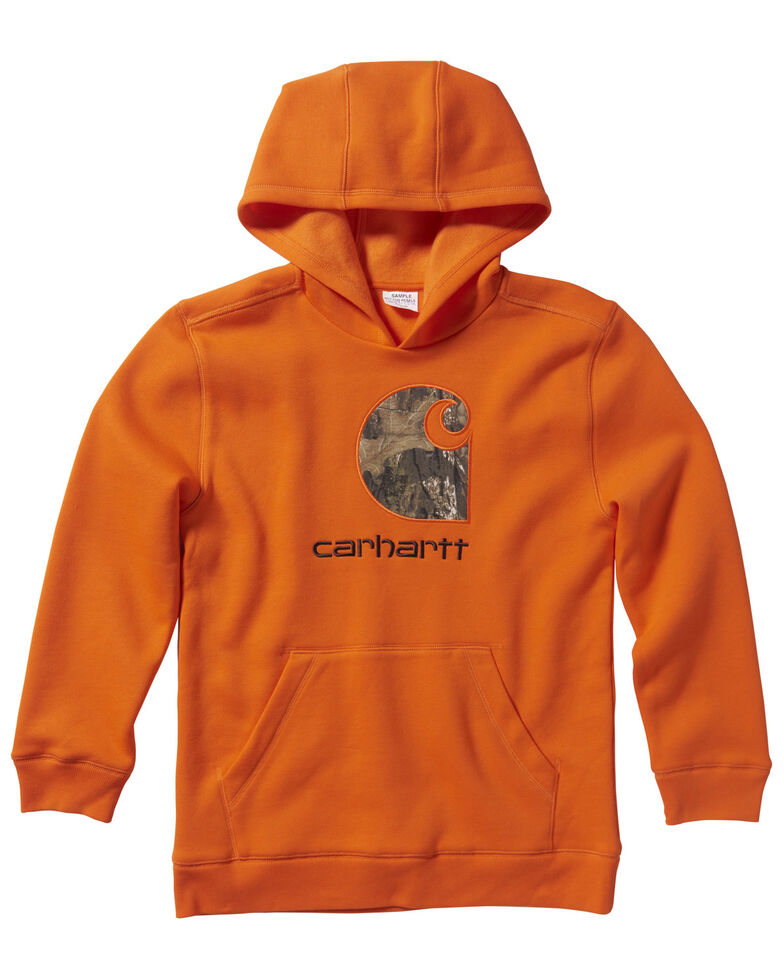 Carhartt Boys' (4-7) Orange Embroidered Logo Fleece Hooded Sweatshirt , Orange, hi-res