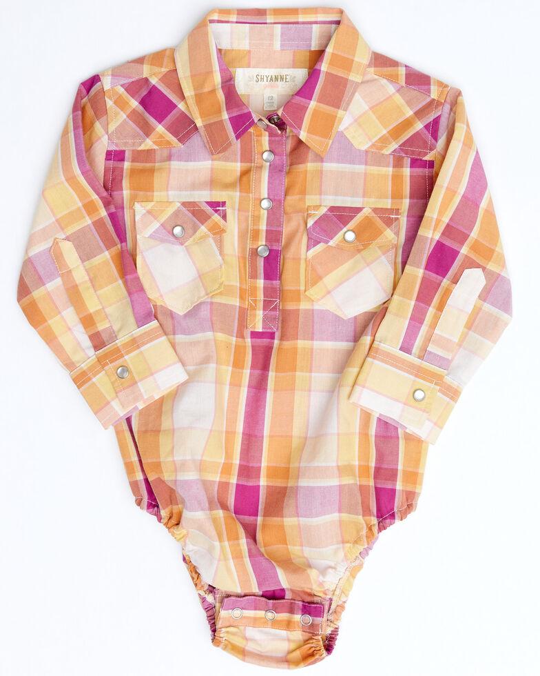 Shyanne Infant Girls' Pink Fuscia Plaid Long Sleeve Onesie , Fuscia, hi-res