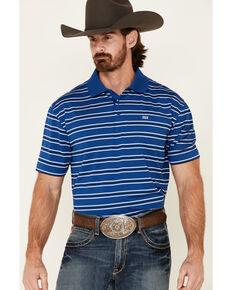 Wrangler 20X Men's Blue Striped Short Sleeve Performance Polo Shirt , Blue, hi-res